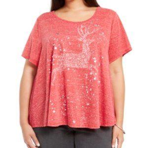 Womens Red Reindeer-print Short Sleeve 1063